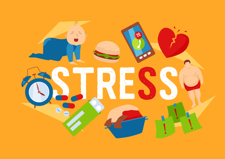 Work and stress factors icons banners vector illustration. Crying kid. Health problems. Fat man, broken heart, pills, dirty clothing, clock, deadlines at work, junk food. Ringing mobile phone.  イラスト・ベクター素材