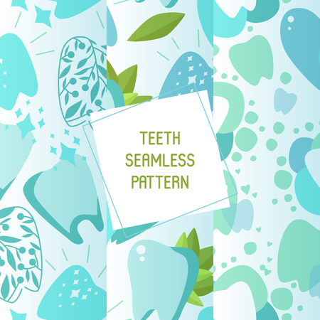 Dentist set of seamless patterns vector illustration. Healthy tooth under protection with glowing effect, teeth whitening concept. Oral care clinic. Mint toothpaste. Herbs. Examination, checkup. Ilustração
