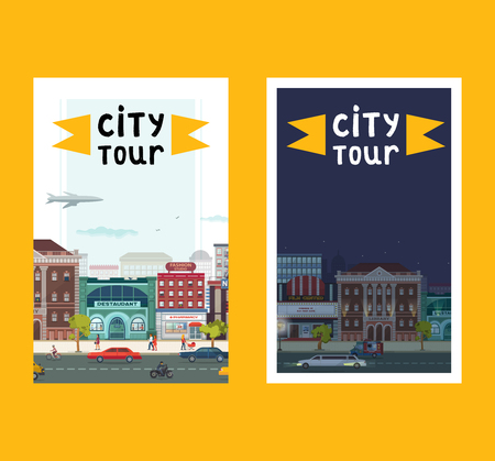City tour set of banners, posters vector illustration. Day night town. Busy street with buildings such as restaurant, fashion studio, pharmacy, film cnter. People walking along road. Stock Illustratie