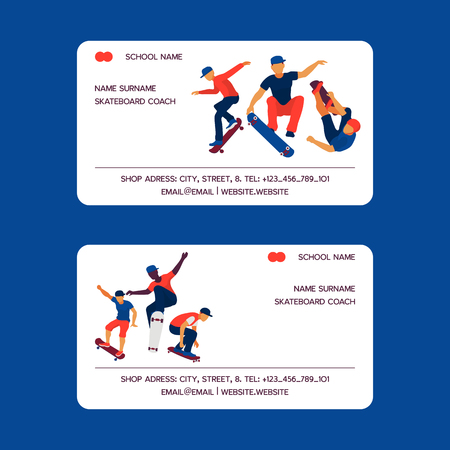 Skateboard coach set of business cards vector illustration. Teenagers riding and doing tricks on skate. Spending free time. Healthy lifestyle concept. School name. Active hobby. Contact information.
