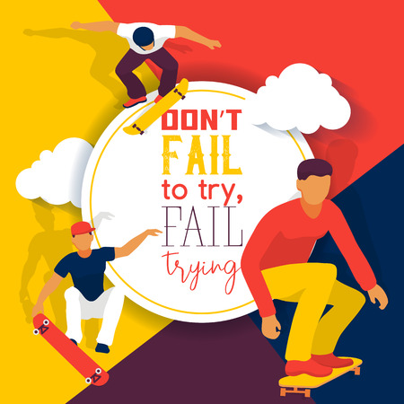 Skateboard school banner web design cards vector illustration. Teenagers riding and doing tricks, jumping on skate. Spending free time. Active hobby. Don t fail to try, fail trying. Spory boys.