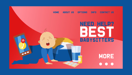 Babysitters banner web design vector illustration. Playing with crying toddler and baby. Busy mother working. Need help Taking Care if kid. Mobile phone ringing. Clothes.