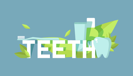 Teeth care sbanner vector illustration. Healthy tooth under protection with glowing effect, teeth whitening concept. Oral care clinic. Mint toothpaste, mouth wash with brush. Herbs. Medical checkup. Illustration