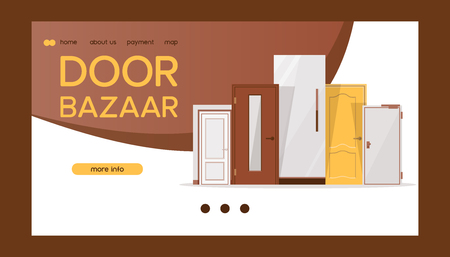 Front door bazaar for houses and buildings banner web design vector illustration. Interior wooden, glass, metal door of various forms. Any door for any purpose. Online shopping.