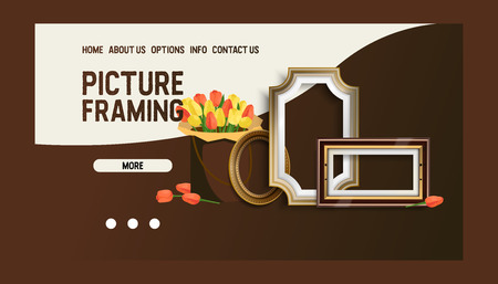 Picture framing banner web design vector illustration. Online shopping. Buying fillets in Internet shop or store. Vintage frames for mirrors, paintings. More information. Options, contacts.