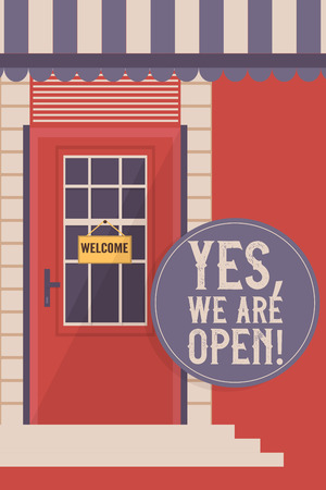 Front door for houses and buildings banner, poster vector illustration. Interior wooden door withh glass window with welcome sign. Yes, we are open. Entrance to shop or store.