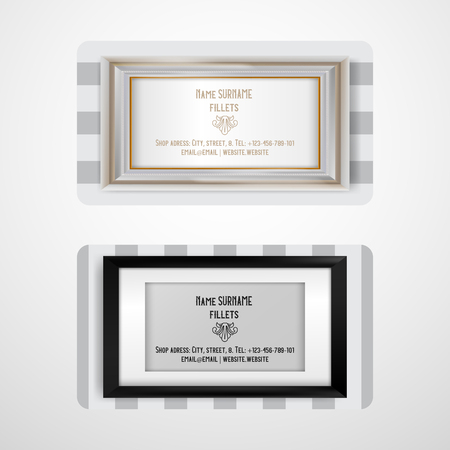 Frame set of business cards vector illustration. Contact information of decorative accessories. Buying in shop or store with fillets. Adress, phone number, website, email. Çizim
