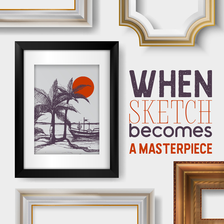 Picture framing banner, poster vector illustration. Buying fillets in shop or store. Vintage gold and white frames for mirrors, paintings. When sketch becomes a masterpiece. Palms with boat and sun. Imagens - 123795385