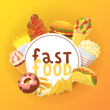 Fast food banner, poster vector illustration. Eating out. Quick way to have meal. Pizza, taco, beverage, soda, french fries chicken wings chips, donut, popcorn noodles hamburger ice cream. Junk.
