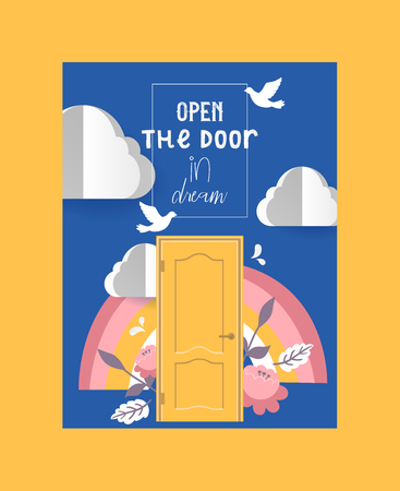 Door in sky poster, banner vector illustration. Flying white pigeons among clouds. Open the door in dream. Colorful rainbow with flowers and leaves. Follow desires, make wishes.