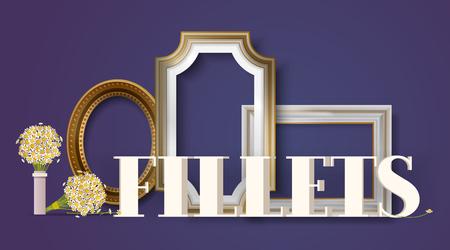 Bilderrahmen Banner, Poster-Vektor-Illustration. Online Einkaufen. Filets im Laden oder Laden kaufen. Vintage gold-weiße Rahmen für Spiegel, Gemälde. Blumenstrauß. Leere Grenzen.