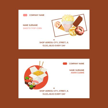 Fastfood set visitekaartjes vectorillustratie. Uit eten. Snelle manier om te eten. Snoepjes zoals donuts, popcorn, chocolade en fruitijs. Aziatische keuken zoals noedels en sushi. Vector Illustratie