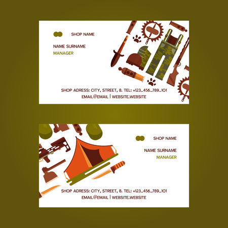 Hunting equipment set of business cards. Hunter accessories such as camping tent or rifle gun and carbine with arbalest crossbow, compass and trap for wild animals, knife, axe. Contact information.