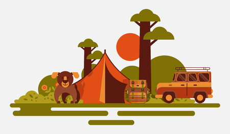 Hunting equipment banner vector illustration. Hunter accessories such as camping tent, rucksack with tools, dog and  car or vehicle in nature with plants as trees, flowers, bushes. Sunset. Illustration