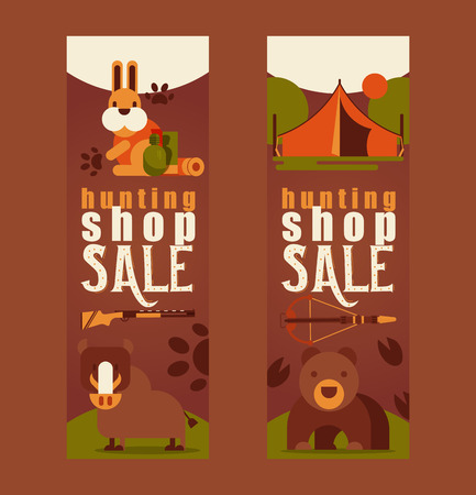 Hunting equipment shop sale set of business cards vector illustration. Hunter accessories such as camping tent, rifle gun, arbalest crossbow, wild animals such as bear, hare, boar. Natural landscape. Stock Illustratie