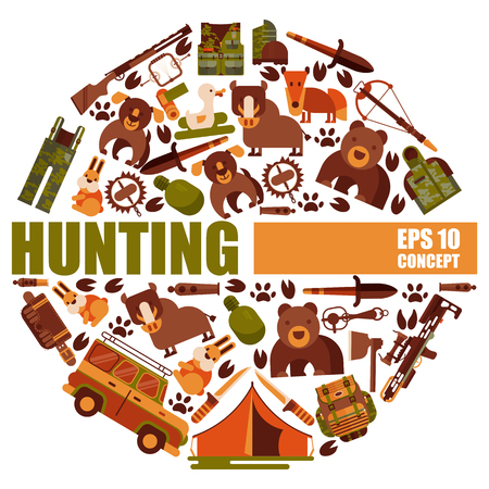 Hunting equipment round patterns vector illustration. Hunter accessories such as car, rifle gun and carbine with arbalest crossbow, trap for wild animals, knife, axe.