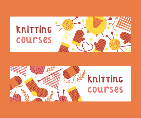 Handknitting courses set of banners vector illustration. Needle, tangle of thread. Making clothes by handknit, needlework sewing ball of material. Organic wool. Sheep mittens socks. Heart shape. Illustration