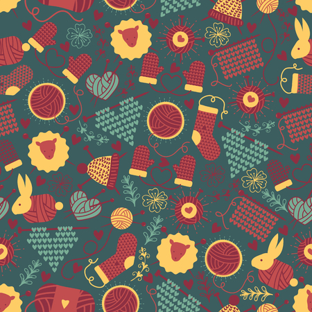Handknitting seamless pattern vector illustration. Needle, red tangle of thread. Making clothes by handknit needlework sewing ball of material. Socks, hat, mittens. Heart shape. Warm clothes.