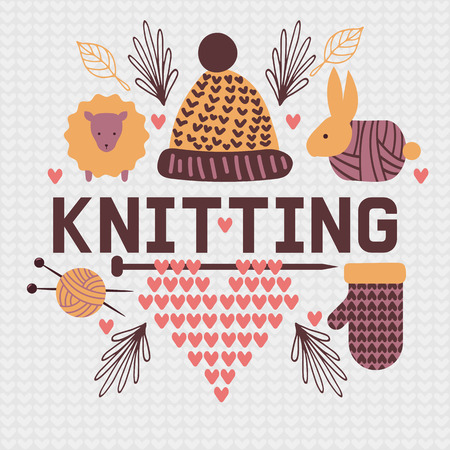 Handknitting banner vector illustration. Needle, tangle of thread. Making clothes by handknit, needlework, sewing, ball of material. Organic wool. Sheep, mittens, hat, rabbit. Illustration