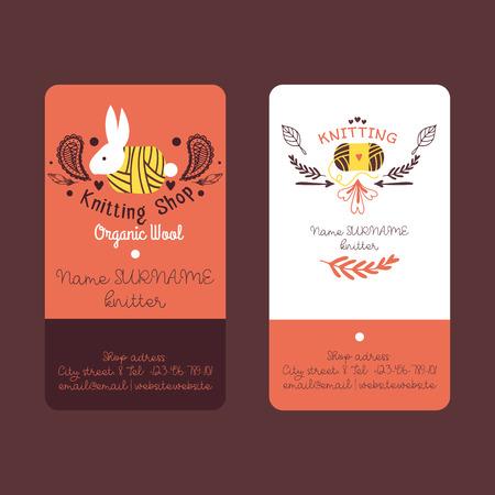 Handknitting conjunto de ilustración de vector de tarjetas de visita. Aguja, maraña de hilo rojo. Confección de ropa a mano, costura, costura, ovillo de tela. Lana orgánica. Bola de conejo. Información del contacto. Ilustración de vector