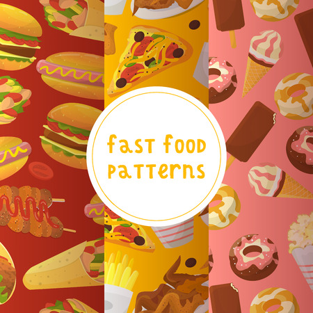 Fast food seamless pattern vector illustration. Eating out. Quick way to have meal. Pizza, taco, beverage, soda, french fries, chicken wings, chips, donut, popcorn, noodles, hamburger.