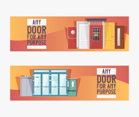 Front doors to houses and buildings set of banners in flat design vector illustration. Interior wooden, glass, metal door of various forms. Any door for any purpose. Open close sign.