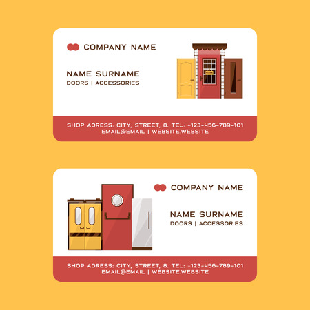 Front doors for houses and buildings set of business cards vector illustration. Interior wooden, glass, metal door of various forms. Buying accessories. Open close sign. Company name.