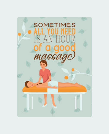 Medical massage people poster vector illustration. Osteopaths performing treatment manipulations or massaging their patients. Sometimes all you need is an hour of a good massage. Doctor of manual therapy.