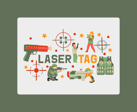 Laser tag game banner, poster vector illustration. Gun, optical sight, trigger, vest, attachment rail. Game weapons. Child pistols. Spending free time. Playing with ray guns.