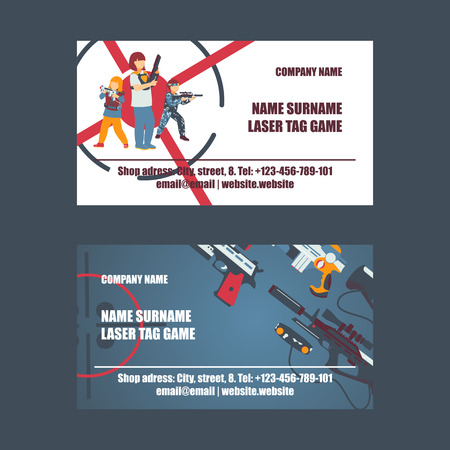 Laser tag game set of business cards vector illustration. Gun, optical sight, trigger, vest, attachment rail. Game weapons. Child pistols. Spending free time. Playing with ray guns. Shooting people.