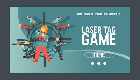 Laser-Tag-Spiel-Set von Banner-Vektor-Illustration. Pistole, optisches Visier, Abzug, Weste, Befestigungsschiene. Spiel Waffen. Kinderpistolen. Freizeit verbringen. Spielen mit Strahlenkanonen. Menschen erschießen.