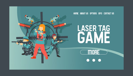 Laser tag game set of banners vector illustration. Gun, optical sight, trigger, vest, attachment rail. Game weapons. Child pistols. Spending free time. Playing with ray guns. Shooting people.