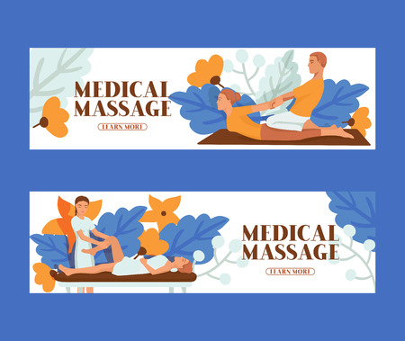 Medical massage people set of banners vector illustration. Osteopaths performing treatment manipulations or massaging their patients. Set of specialists in osteopathy, chiropractic or manual therapy.