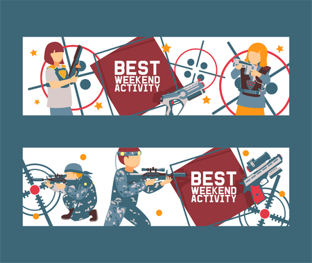 Laser tag game set of banners vector illustration. Gun, optical sight, trigger, vest, attachment rail. Game weapons. Child pistols. Spending free time. Playing with ray guns. Best weekend activity.