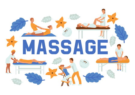 Medical massage people poses set of banners vector illustration. Osteopaths performing treatment manipulations or massaging their patients. Set of specialists in osteopathy, chiropractic. Different positions. Stock Illustratie