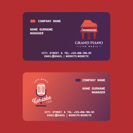 Musical instruments set of manager business cards vector illustration. Music concept with grand piano, microphone. Playing instrument. Live music. Show advertisement. Contact information.