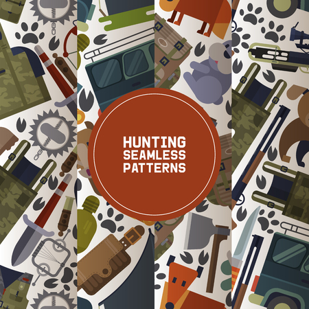 Hunting equipment set of seamless patterns vector illustration. Hunter accessories such as car, rifle gun and carbine with arbalest crossbow, trap for wild animals, knife, axe rucksack, fox. Illustration