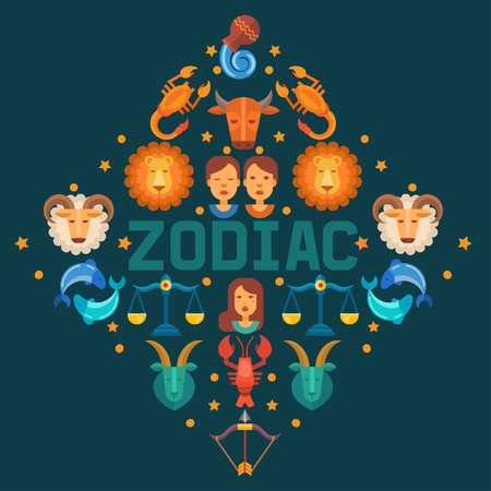 Zodiac signs banner vector illustration. Horoscope, astrology icons such as Aries, Taurus Gemini, Cancer Leo, Virgo Libra, Scorpio Sagittarius Capricorn, Aquarius, Pisces. Illustration