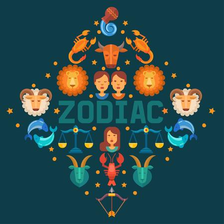 Zodiac signs banner vector illustration. Horoscope, astrology icons such as Aries, Taurus Gemini, Cancer Leo, Virgo Libra, Scorpio Sagittarius Capricorn, Aquarius, Pisces. Illusztráció