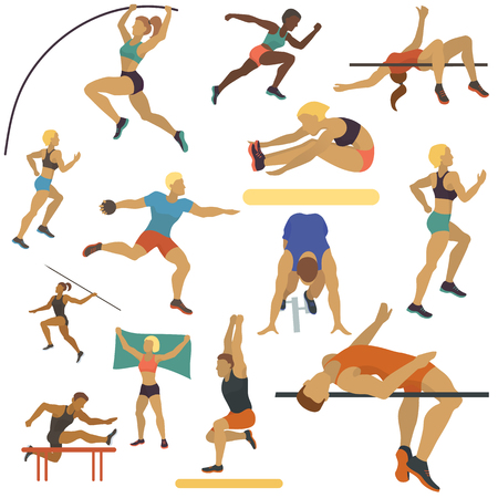 Athlete man and woman seamless pattern vector illustration. Exercising male in different poses. Human figures are training in sport club. Running and jumping. Athletics competition. Being active.
