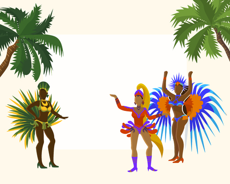 Carnaval frame for photos banner vector illustration. Carnival dancing girls in festive costume from rio de janeiro with colorful ostrich feather and crystals among palm trees. Çizim