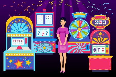 Girl visiting casino place banner vector illustration. Win jackpot in game slot machine. Casino buildings, gaming machine, fortune wheel and game roulette. Getting money. Illustration