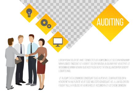 Auditing banner vector illustration. Businessmen are discussing steps to comply with relevant laws, policies, and regulations. Research, project management, planning, accounting.