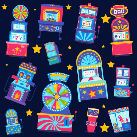 Casino seamless pattern vector illustration. Win jackpot in game slot machine. Casino buildings, gaming machine, fortune wheel and game roulette. Grab toy in machine. Gambling.