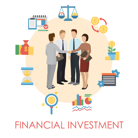 Financial investment banner, poster vector illustration. Earning money. Group of people discussing questions. Man and woman shaking hands. Business consultation and teamwork. Icons earning money.