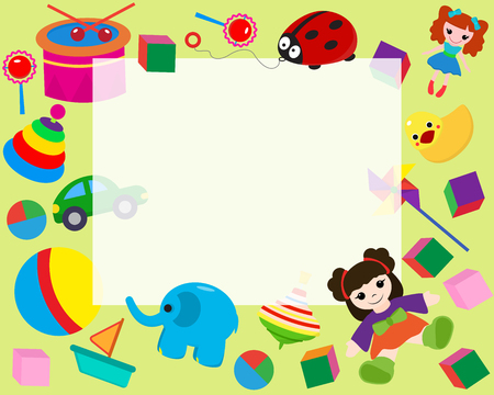 Horizontal frame border with colorful toys in cartoon style banner vector illustration. Place for photo, picture, certificate. Childish design with doll, duck, elephant, boat, ball. Vektoros illusztráció