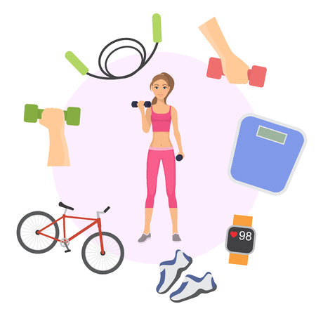 Girl exercising with dumbbells poster, banner vector illustration. Sport, fitness, bodybuilding, weightlifting concept, young woman flexing muscles. Accessories for healthy lifestyle.