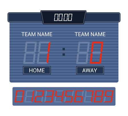 Scoreboard vector score board digital display football soccer sport team match competition on stadium illustration set of score-board championship information isolated on white background Stock Illustratie