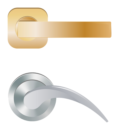 Door handle vector doorknob to lock doors at home and metal door-handle in house interior illustration set of entrance door-knob design isolated on white background Stockfoto - 125253760