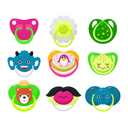 Pacifier vector baby soother child nipple and kids rubber nipple illustration set of cartoon comforter to pacify newborn children isolated on white background. Illustration